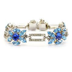 Vintage 1950s Signed Austrian Blue Rhinestone Bracelet | Clarice Jewellery