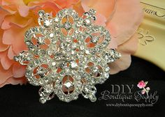 Large Rhinestone Brooch Pin  Crystal Brooch  by DIYBoutiqueSupply, $5.95