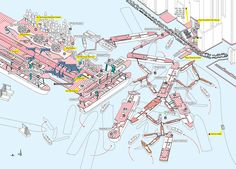 Cities Without Ground: A Hong Kong Guidebook by Adam Frampton, Jonathan D Solomon and Clara Wong. Axonometric maps revealing Hong Kong's multi-layered elevated walkways, ramps, elevators and infrastructure interchanges.