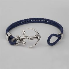 We are all crazy for this Anchor leather wrist bracelet. Simply stunning, salty and delicious. A must have for any sailor, man or women, we aren't sexist here, we are all sailors aren't we? Love it! Handmade in our London workshops. The Anchor and bracelet endings can be made in a variety of solid precious metal options including sterling silver, gold, and palladium and you can choose from either black, brown or blue leather.