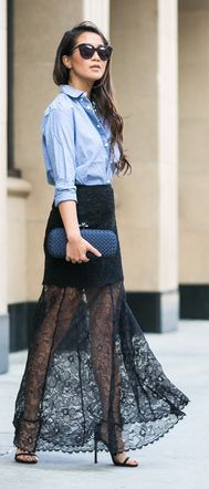 Black Lace Sheer Maxi Skirt by Wendy's Lookbook                                                                                                                                                                                 More