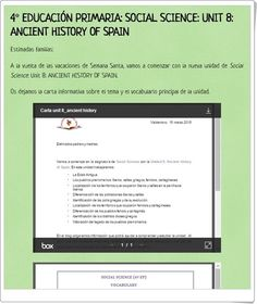 "Unidad 8 de Social Science de 4º de Primaria: ""Ancient history of Spain"""