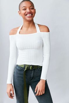 Silence + Noise Talia Off-The-Shoulder Halter Top - Urban Outfitters