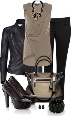 """Black and Taupe"" by averbeek on Polyvore"