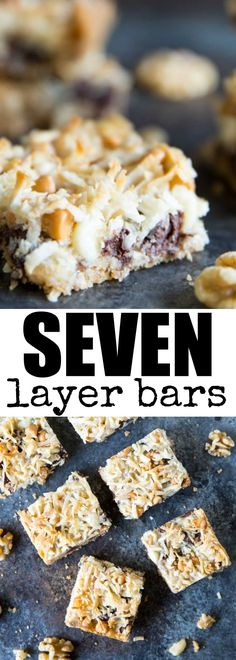 Classic Seven Layer Bars have 7 layers of sweet, crunchy, and chewy flavors! Studded with walnuts, coconut, and all the chips, these are always a favorite!