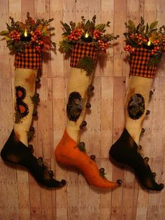 witch stockings- the pointed toes in these stockings would be cute for the BBD Halloween stockings!
