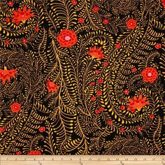 Kaffe+Fassett+Collective+Ferns+Black from @fabricdotcom  Designed+by+Kaffe+Fassett+for+Free+Spirit,+this+cotton+print+is+perfect+for+quilting,+apparel+and+home+decor+accents.++Colors+include+black,+gold,+orange,+red+and+pink.