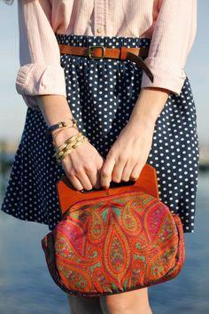 Polka dot skirt, classic oxford, great accessories... (Sarah Vickers) Kiel James Patrick photo and anchor bracelet