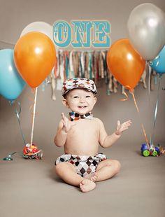 First Birthday or Cake Smash Outfit for Boys: Gray Argyle Newsboy Hat, Bow tie and Diaper Cover, Adorable First Birthday Outfit on Etsy, $71.00