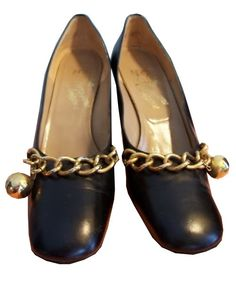 Ball and Chain Black Leather Mod Designer Shoes circa 1960s Rosina Ferragamo Dorothea's Closet Vintage Shoes