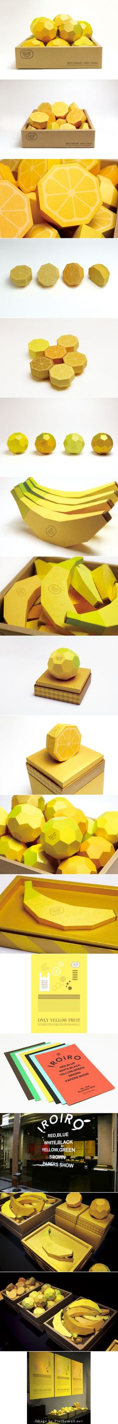 Some really cool yellow fruit packaging designs for the Irioro papers show by Safari Design curated by Packaging Diva PD