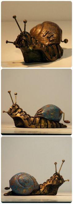 Caracoles del Proyecto Hotteterre. Steampunk snail. De La Mathomería.