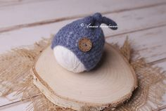 Crochet newborn hat  long tail hat with button  multiple
