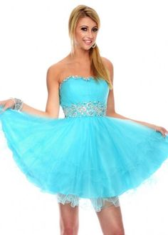 Strapless Formals P35068 Ruffled Tiered Light Blue Homecoming Dress