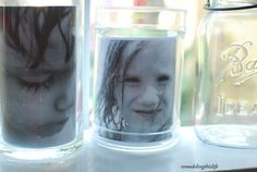 I love this idea from @Janann Cowden.  Mason jars as a photo display!