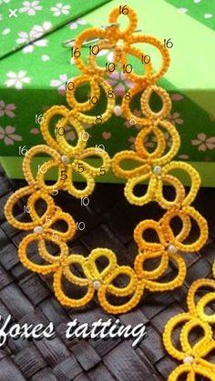Tatting Earrings, Tatting Jewelry, Tatting Lace, Crochet Earrings, Shuttle Tatting Patterns, Needle Tatting Patterns, Tatting Tutorial, Happy Flowers, Lace Making