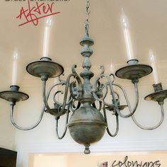 Using chalk paint on an outdated brass chandelier.