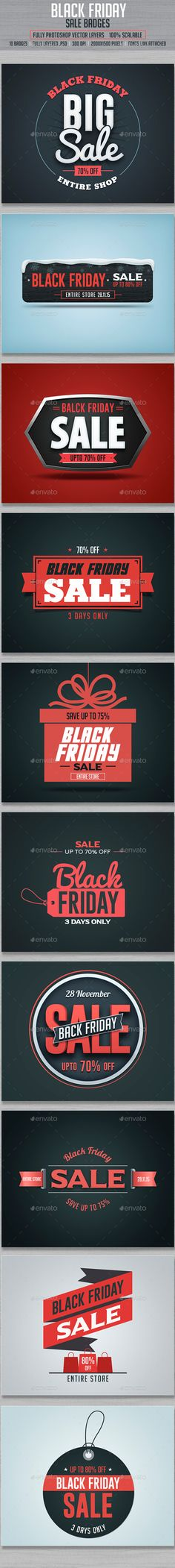 Black Friday Sale Badges  — PSD Template #ribbon #holiday • Download ➝ https://graphicriver.net/item/black-friday-sale-badges/13423140?ref=pxcr
