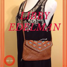 HP  Libby Edelman Leather Cross-body Bag Light brown leather boho cross body bag. Orange and blue stitch design on the flap of bag. Has inside zipper pocket and Libby Edelman inlaid on back of bag.PRICE FIRM❗️❗️ Libby Edelman Bags Crossbody Bags