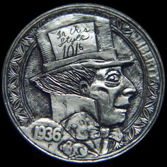 """Hobo Nickel """"A Mad Tea Party"""" Hand Carved by Robert Morris Literary Characters, Hobo Nickel, Coin Art, Modern Artists, Through The Looking Glass, Alice In Wonderland, Sculpture Art, Tea Party, Hand Carved"""