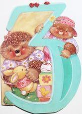 Happy 3rd Birthday card & envelope, Hallmark, hedgehogs, rabbit, brand new