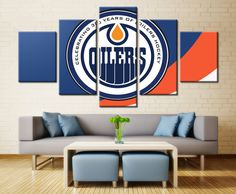 5 Pieces Edmonton Oilers Wall Art Picture Modern Home Decoration Living Room Or Sport Bedroom Canvas Print Painting Wall Picture