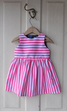 Pink and white striped dress with floral lining