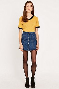 Urban Outfitters Retro Contrast V-Neck Tee