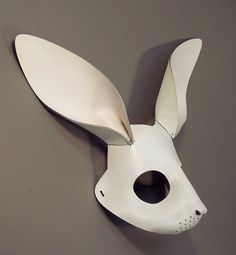 Rabbit leather mask in white.  What the hell?  This thing freaks me out.  Looks too much like Donnie Darko, the freakiest, scariest movie ever.  Hate that movie.  (Rob loves it...FREAK.)