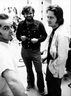 Jack and producer Michael Douglas One Flew Over the Cuckoo's Nest (1975) Here's the article I found these pictures in: http://moviepilot.com/posts/2883000-28-behind-the-scenes-photos-from-one-flew-over-the-cuckoo-s-nest?lt_source=external,manual,manual