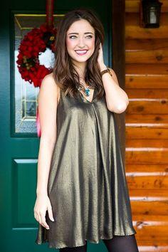 Show Me A Good Time Dress-Metallic Gold
