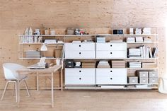 I told you all about my home office inspiration in my last post and the String shelving system was at the top of my temptation list. String is the original shelving system designed by the Swedish a… Modular Shelving, Shelving Systems, Shelf System, Office Shelving, Office Shelf, Modular Storage, Storage Systems, Office Workspace, Wall Mounted Shelves
