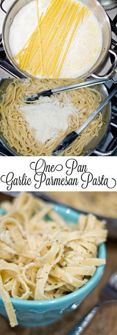 One Pan Garlic and Parmesan Pasta - A lighter version of a classic dish This One Pan Garlic Parmesan Pasta is a light enough recipe to serve as a main dish, or a delicious side dish, and it's ready in less than 20 minutes! I Love Food, Good Food, Yummy Food, Tasty, Pasta Dishes, Food Dishes, Pasta Food, Shrimp Pasta, Chicken Pasta