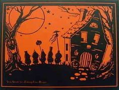 Orange & black silhoutte postcard