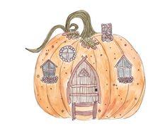 Pumpkin Cottage Autumnal Equinox, Watercolor Illustration, Card Stock, Pumpkin, Cottage, Christmas Ornaments, Holiday Decor, Etsy, Pumpkins