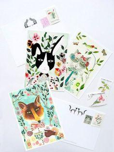 card fox rabbit cat Stationery animal card 3 par SoniaCavallini