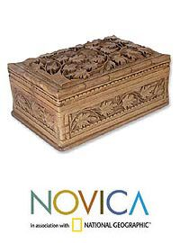 Wood Jewelry Box, 'Ivy Fantasy' at The Animal Rescue Site - I have an Indian carved jewelry box that I got as a present at an antique store, it's beautiful. Looks a lot like this one. Glad to see some people are still making them, it's a dying craft. $79