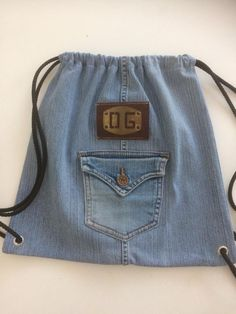 Jean Bag, Old Jeans, Drawstring Backpack, Upcycle, Backpacks, Sewing, Craft, Dresses, Fashion