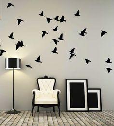 Flock of Birds Cartoon Wall Decal Sticker by littlestickerboy Cartoon Birds, Cartoon Wall, Wall Decal Sticker, Wall Stickers, Monochrome Interior, Flock Of Birds, Flying Birds, Interior And Exterior, Interior Design