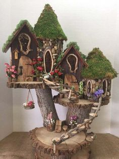 If you are looking for Diy Fairy Garden Design Ideas, You come to the right place. Here are the Diy Fairy Garden Design Ideas. This article about Diy Fai. Garden Tree House, Fairy Tree Houses, Fairy Village, Fairy Garden Houses, Gnome Garden, Garden Trees, Garden Gazebo, Fairies Garden, Diy Fairy House
