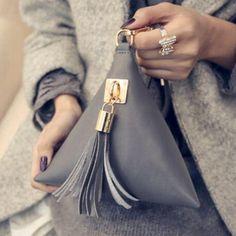 Vogue Star Mini Tassel Clutch Leather Bag Purse Famous Women Fringe Evening HandBag