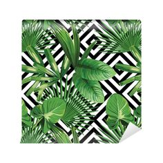 Wallpaper tropical palm leaves pattern, geometric background