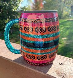 Epoxy Tumbler, Travel Mug, Coffee Cup, Southwestern, Coffee Mug – Typical Miracle Travel Mug Coffee, Coffee Cup Cozy, Hot Coffee, Coffee Cup Crafts, Travel Mugs, Diy Tumblers, Custom Tumblers, Glitter Tumblers, Coffee Cup Design