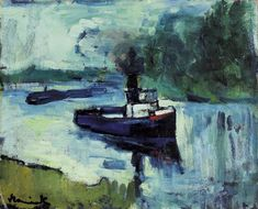 View LE REMORQUEUR By ; Access more artwork lots and estimated & realized auction prices on MutualArt. Andre Derain, Art Fauvisme, Maurice De Vlaminck, Boat Art, Post Impressionism, Modern Artists, Henri Matisse, Artist Painting, Landscape Paintings