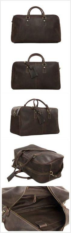 """Super Large Leather Travel Duffle Bag Laptop Weekender Bag Overnight Bag 7156 Model Number: 7156 Dimensions: 20""""L x 9""""W x 12""""H / 51cm(L) x 23cm(W) x 30.5cm(H) Weight: 5lb / 2.3kg Hardware: Brass Hardw"""