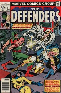 The Defenders # 47 , May 1977 , Marvel Comics Vol 1 1972 On the cover : Defenders ; Hq Marvel, Marvel Comics Superheroes, Marvel Comic Books, Comic Book Characters, Comic Book Heroes, Marvel Characters, Comic Books Art, Comic Art, Book Art