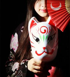 Hand-Painted Full Face Japanese Fox Mask Kitsune Night Dream Cosplay PVC Masquerade Collection Japanese Noh Party Carnival B1