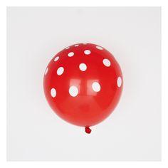6 ballons de baudruche rouges à pois blancs