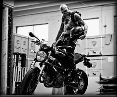Rick Genest on a Duc Monster Boy Tattoos, Life Tattoos, Tattoos For Guys, Retro Motorcycle, Motorcycle Style, Motorcycle Gear, Rob Evans, Rick Genest, A Level Art