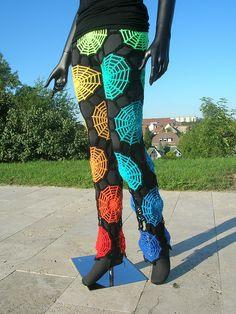 Rainbow Spiderweb Crochet Pants by babukatorium, via Flickr   Love these so creative.